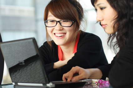 Asian female online high school students