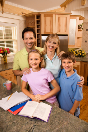 online junior high middle school student with family
