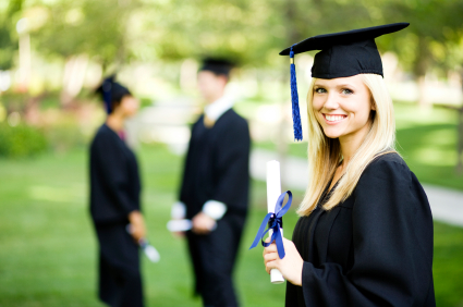 online high school student female diploma