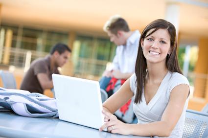 online high school student girl laptop