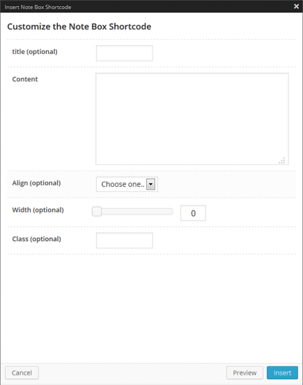 Notebox Shortcode Options Panel